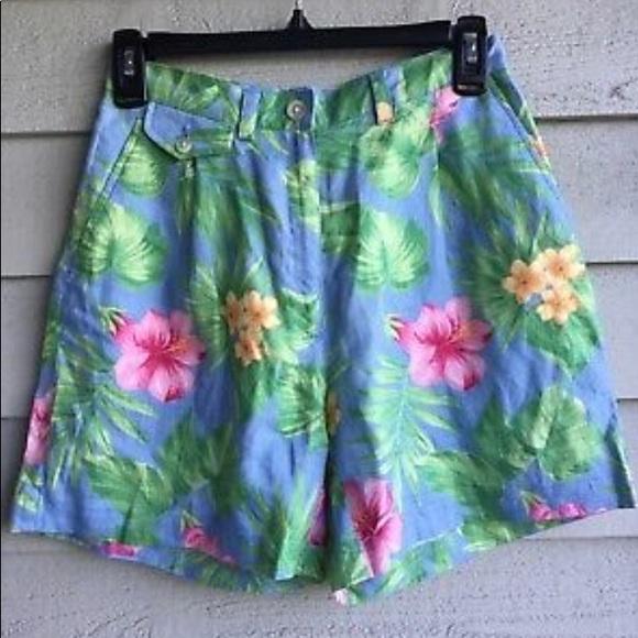 Ralph Lauren Pants - Ralph Lauren Tropical High Rise Linen Shorts